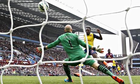 Arsenal's Danny Welbeck scores a goal during the Premier League against Aston Villa